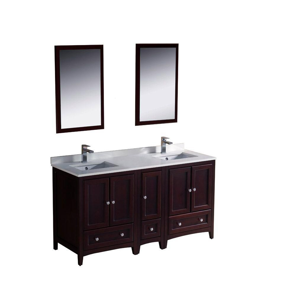 Oxford 60-inch W Double Sink Vanity in Mahogany Finish with Mirror