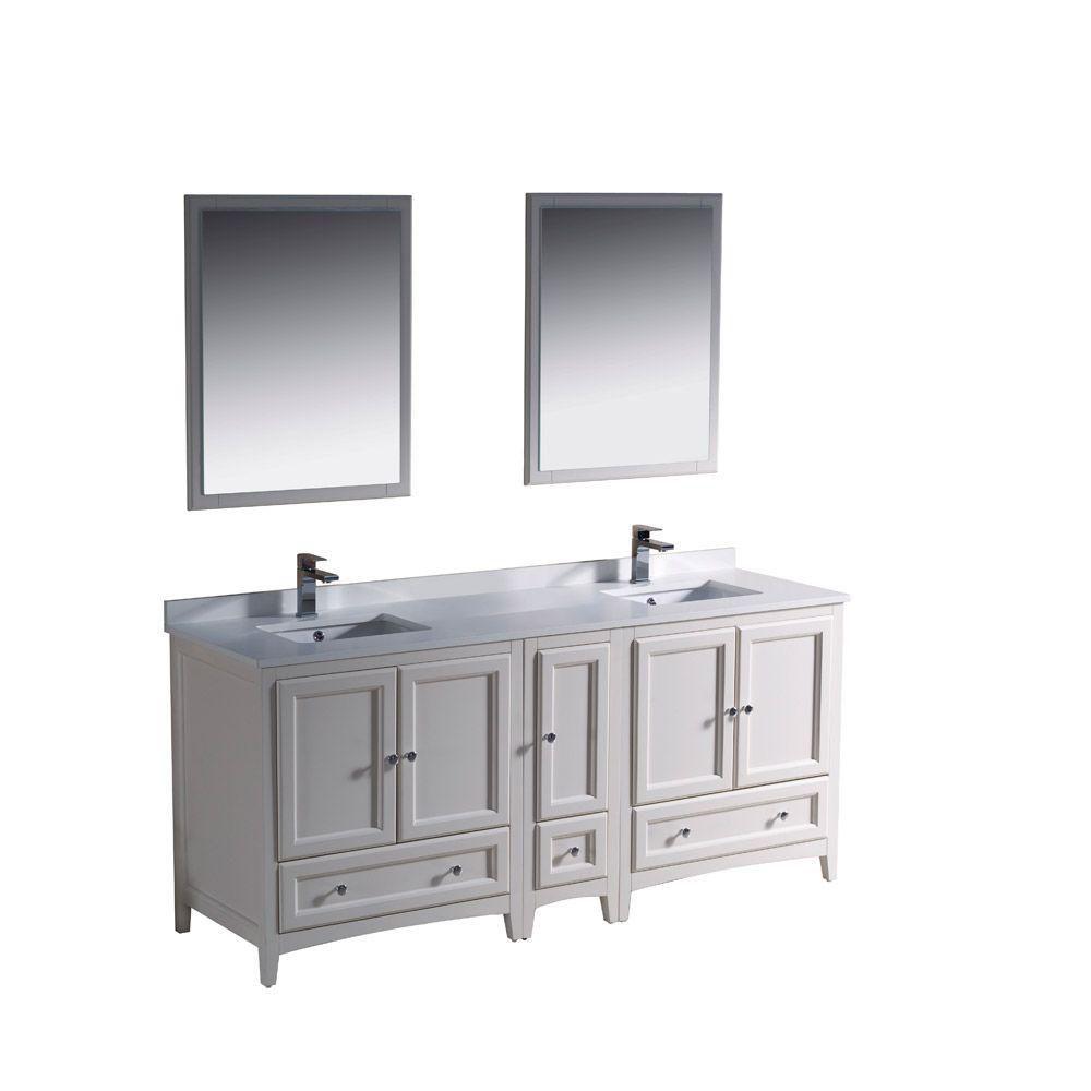 Meuble-lavabo traditionnel blanc antique à double lavabo 72po (182,3 cm) Oxford avec armoire lat...