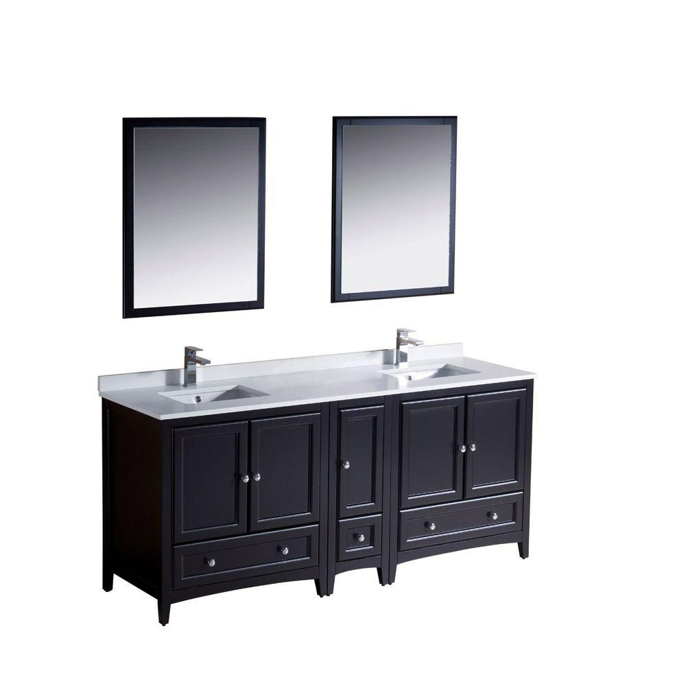 Oxford 72-inch W Double Sink Vanity in Espresso Finish with Mirror