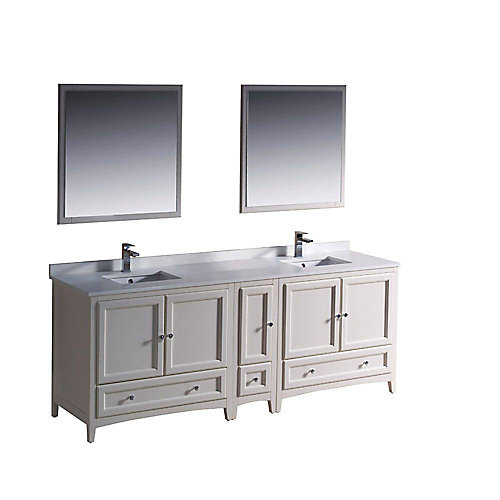 Oxford 84-inch W 3-Drawer 5-Door Vanity in Off-White With Quartz Top in White, Double Basins