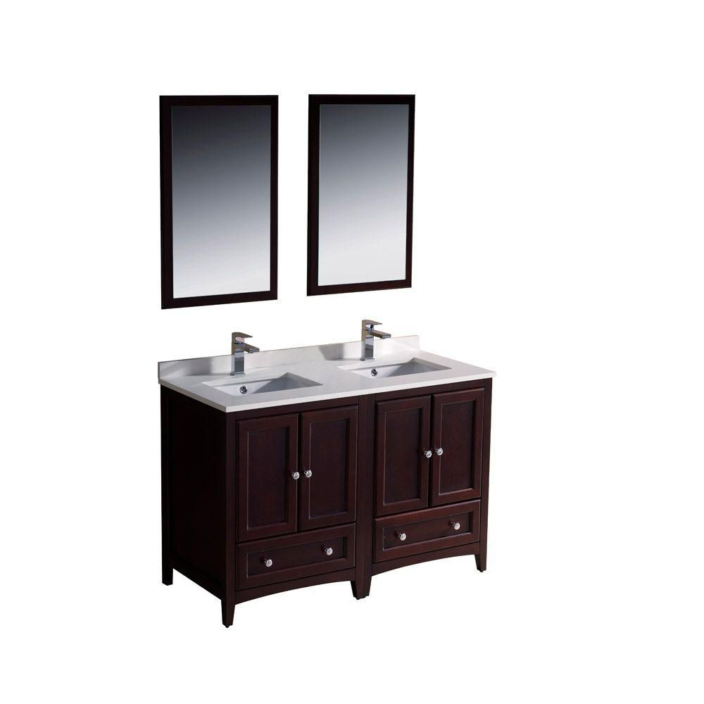Oxford 48-inch W Double Sink Vanity in Mahogany Finish with Mirror