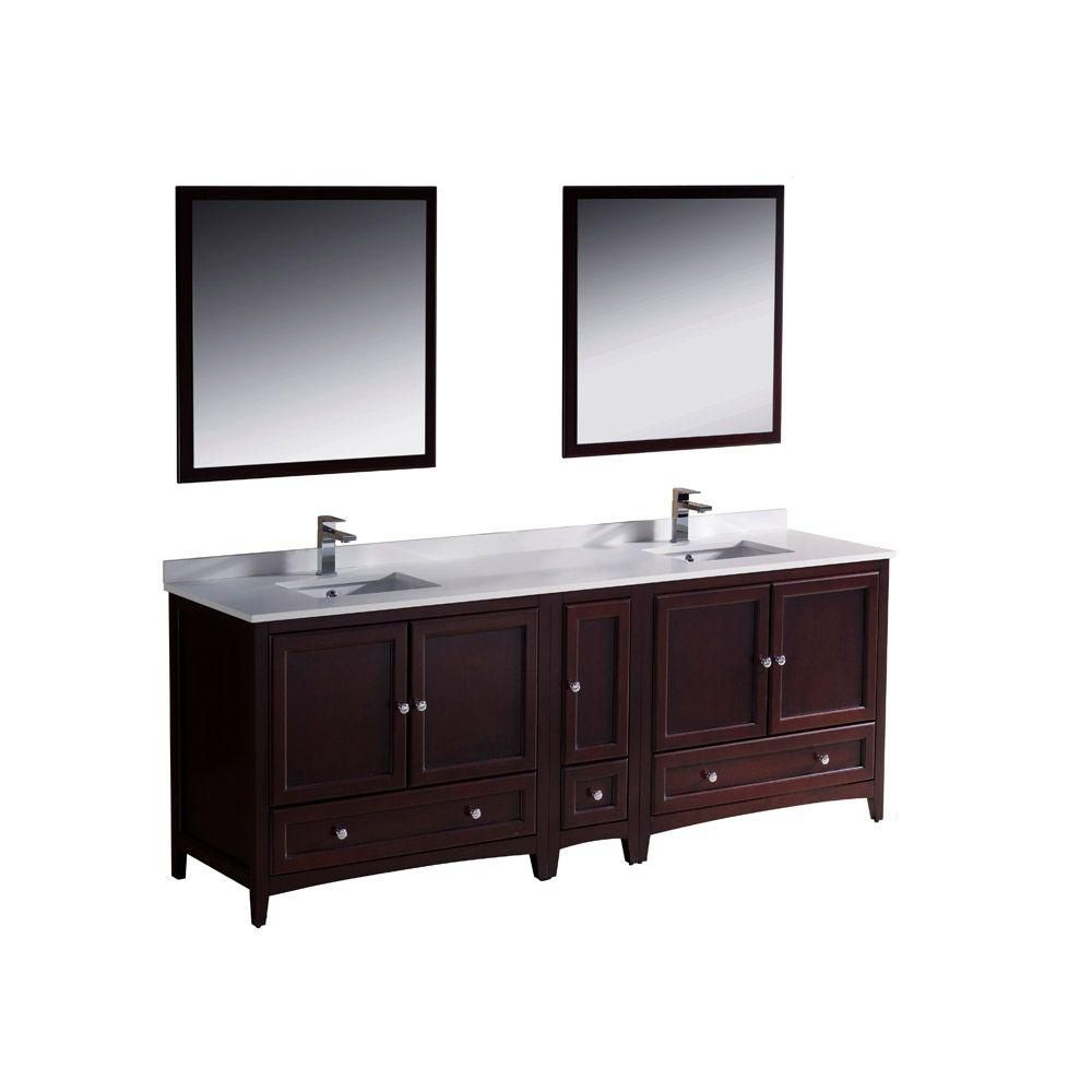 Oxford 84-inch W Double Sink Vanity in Mahogany Finish with Mirror