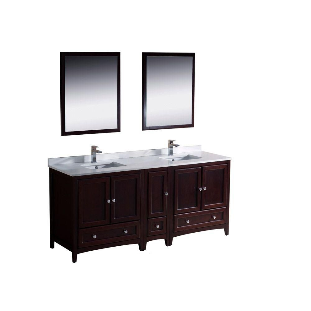 Oxford 72-inch W Double Sink Vanity in Mahogany Finish with Mirror