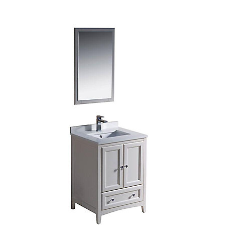 Oxford 24-inch W 1-Drawer 2-Door Vanity in Off-White With Quartz Top in White With Faucet And Mirror