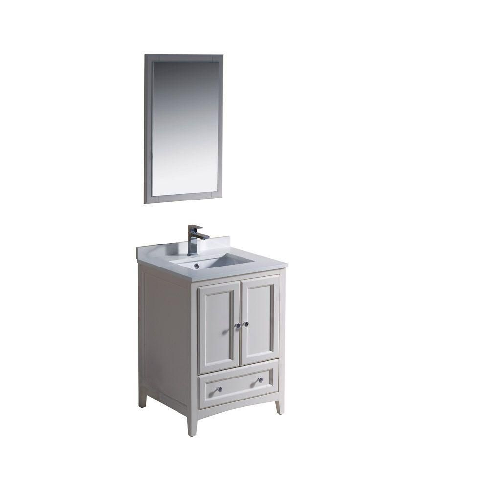 Fresca Oxford 24-inch W 1-Drawer 2-Door Vanity in Off-White With Quartz Top in White With Faucet And Mirror
