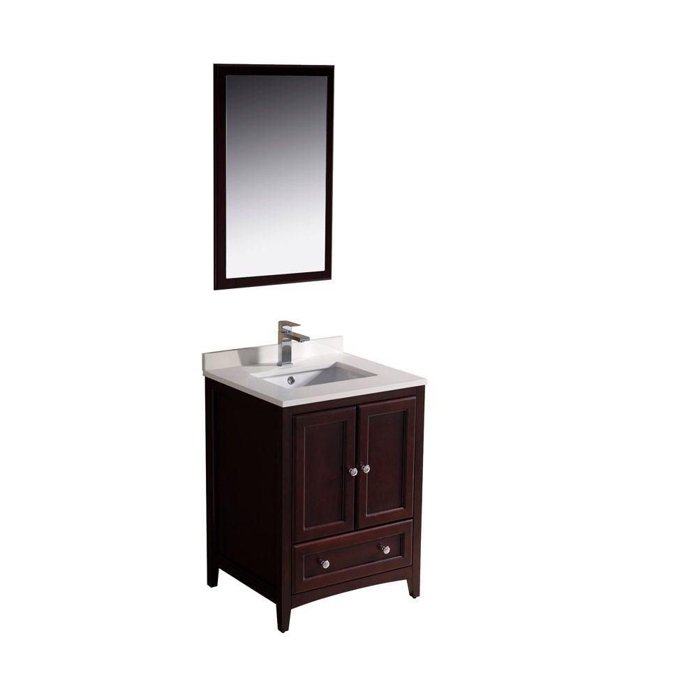 Oxford 24-inch W Vanity in Mahogany Finish with Mirror