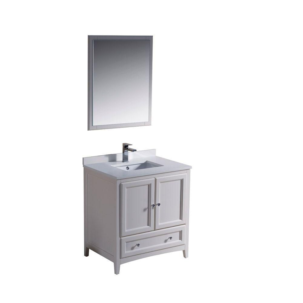 Oxford 30-inch W Vanity in Antique White Finish