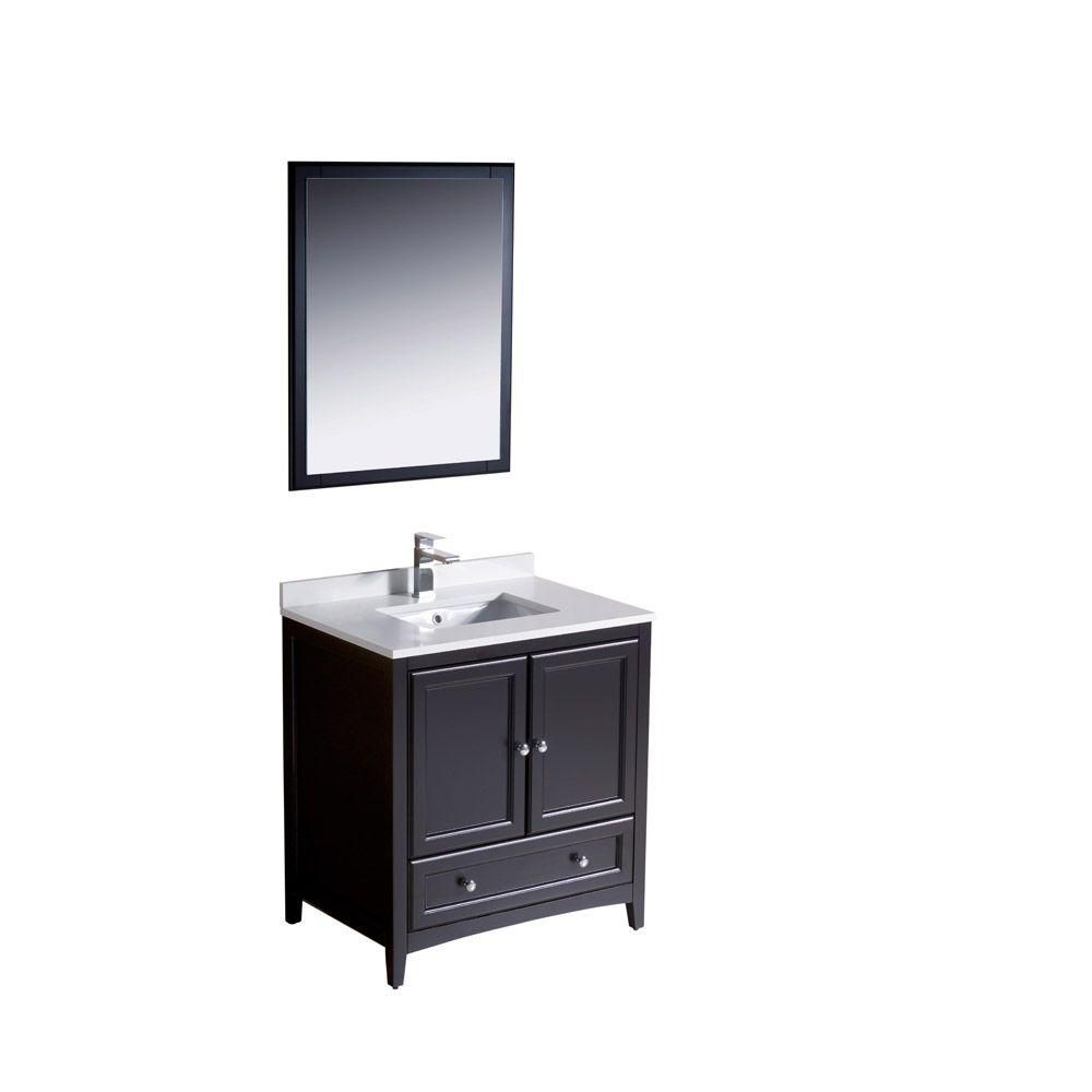 Oxford 30-inch W Vanity in Espresso Finish with Mirror