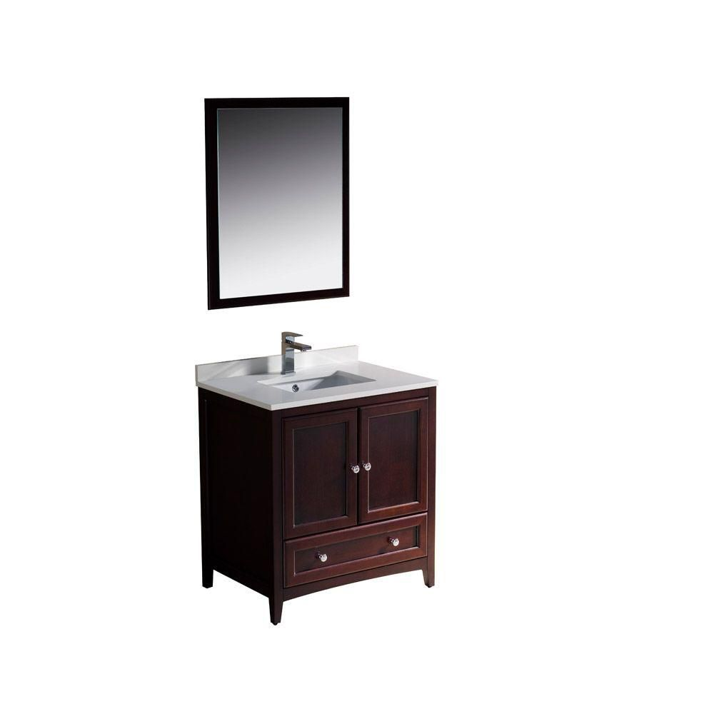 fresca oxford 30 inch w vanity in mahogany finish with mirror the home depot canada. Black Bedroom Furniture Sets. Home Design Ideas