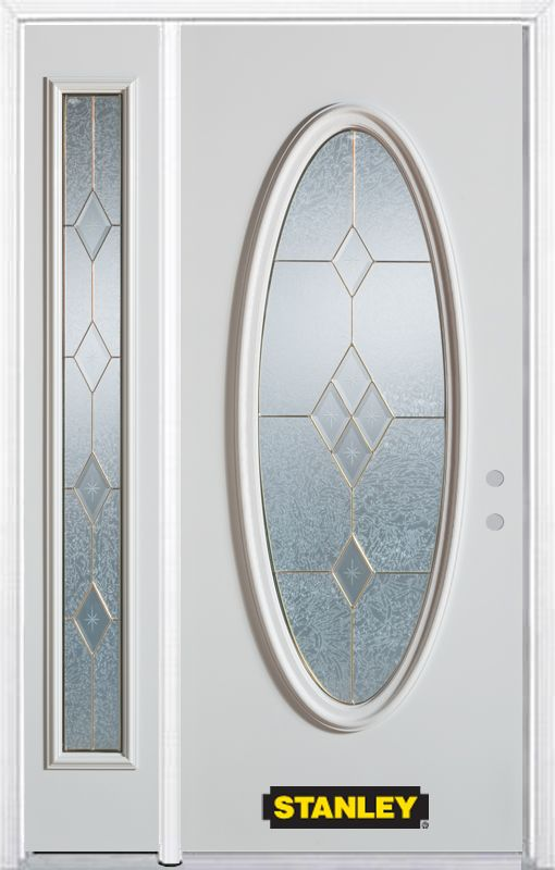 Porte dentrée en acier préfini en blanc, munie dun verre ovale, 51 po x 82 po avec panneaux latér...