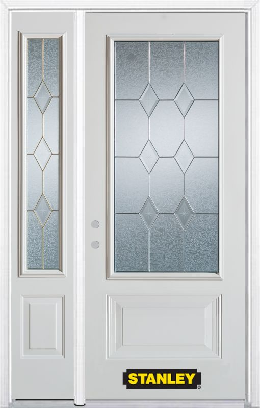 52-inch x 82-inch Tulip 3/4-Lite 2-Panel White Steel Entry Door with Sidelite and Brickmould