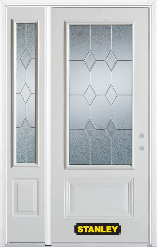 50-inch x 82-inch Tulip 3/4-Lite 2-Panel White Steel Entry Door with Sidelite and Brickmould
