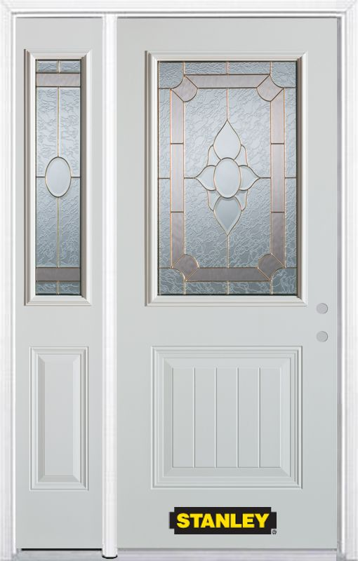 Stanley Doors 52.75 inch x 82.375 inch Rochelle Brass 1/2 Lite 1-Panel Prefinished White Left-Hand Inswing Steel Prehung Front Door with Sidelite and Brickmould