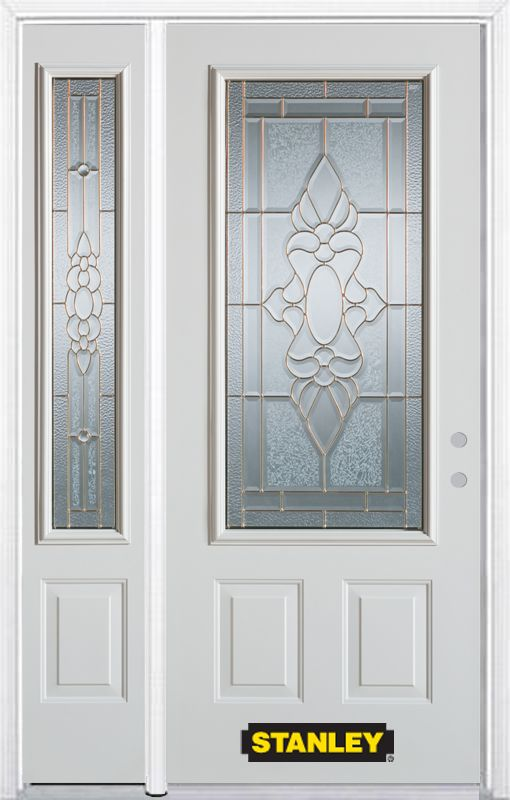 48-inch x 82-inch Victoria 3/4-Lite 2-Panel White Steel Entry Door with Sidelite and Brickmould