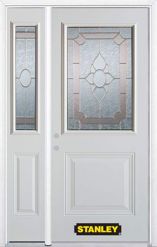 Stanley Doors 50.25 inch x 82.375 inch Rochelle Brass 1/2 Lite 1-Panel Prefinished White Right-Hand Inswing Steel Prehung Front Door with Sidelite and Brickmould - ENERGY STAR®