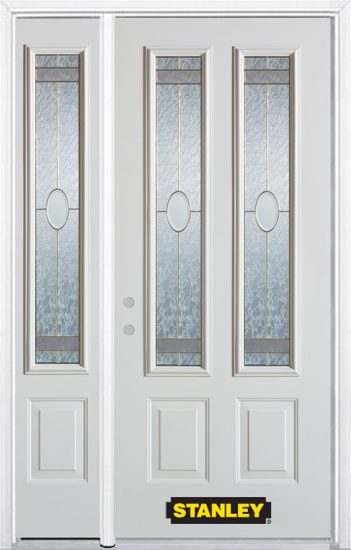 48-inch x 82-inch Rochelle 2-Lite 2-Panel White Steel Entry Door with Sidelite and Brickmould