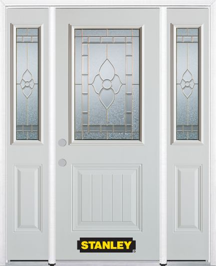 64-inch x 82-inch Marguerite 1/2-Lite 1-Panel White Steel Entry Door with Sidelites and Brickmoul...