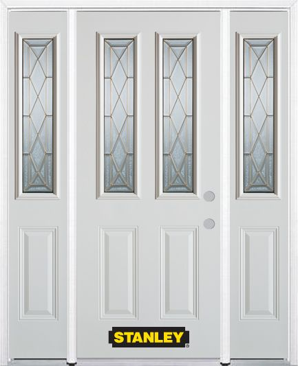 68-inch x 82-inch Queen Anne 2-Lite 2-Panel White Steel Entry Door with Sidelites and Brickmould