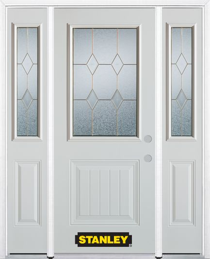 Stanley Doors 64.5 inch x 82.375 inch Tulip Brass 1/2 Lite 1-Panel Prefinished White Left-Hand Inswing Steel Prehung Front Door with Sidelites and Brickmould