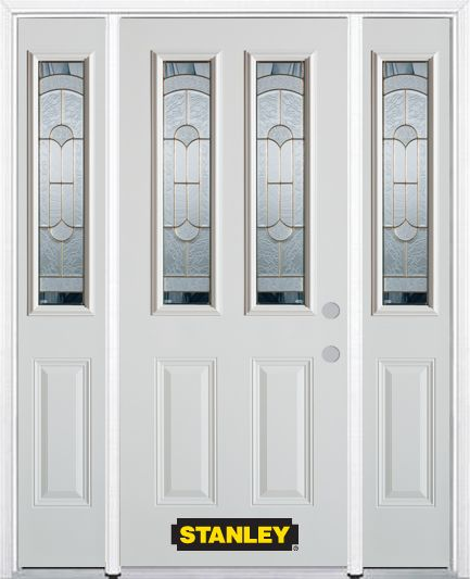 68-inch x 82-inch Radiance 2-Lite 2-Panel White Steel Entry Door with Sidelites and Brickmould