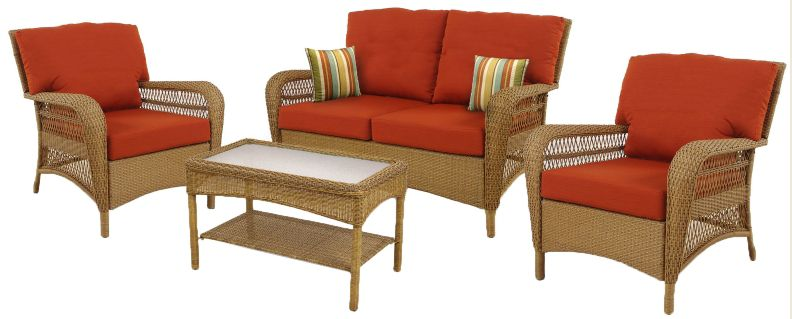 Charlottetown Natural 4-Piece Outdoor Deep Seating Set with Quarry Red Cushions