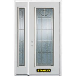 Stanley Doors 50.25 inch x 82.375 inch Elisabeth Brass Full Lite Prefinished White Right-Hand Inswing Steel Prehung Front Door with Sidelite and Brickmould
