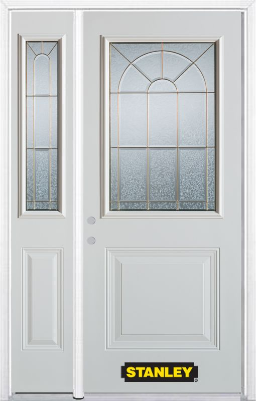 52-inch x 82-inch Elisabeth 1/2-Lite 1-Panel White Steel Entry Door with Sidelite and Brickmould