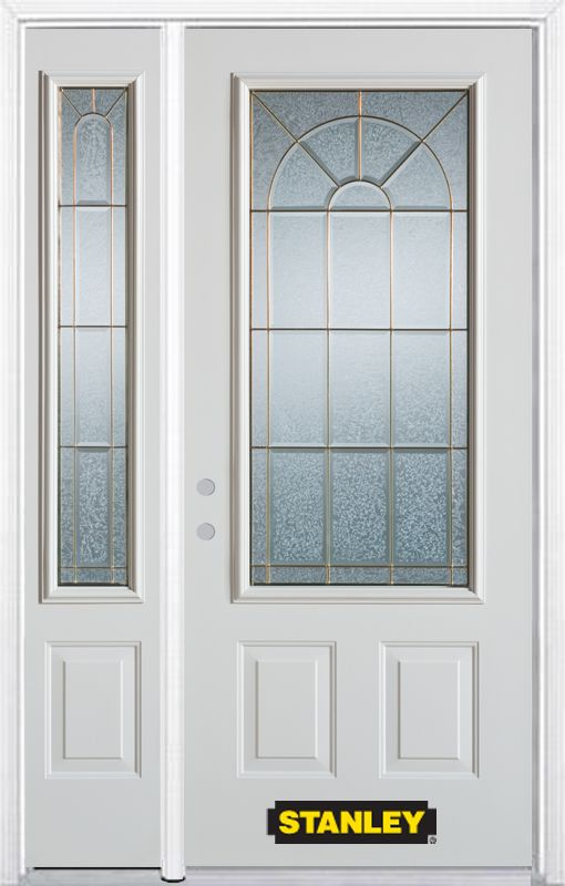 52-inch x 82-inch Elisabeth 3/4-Lite 2-Panel White Steel Entry Door with Sidelite and Brickmould