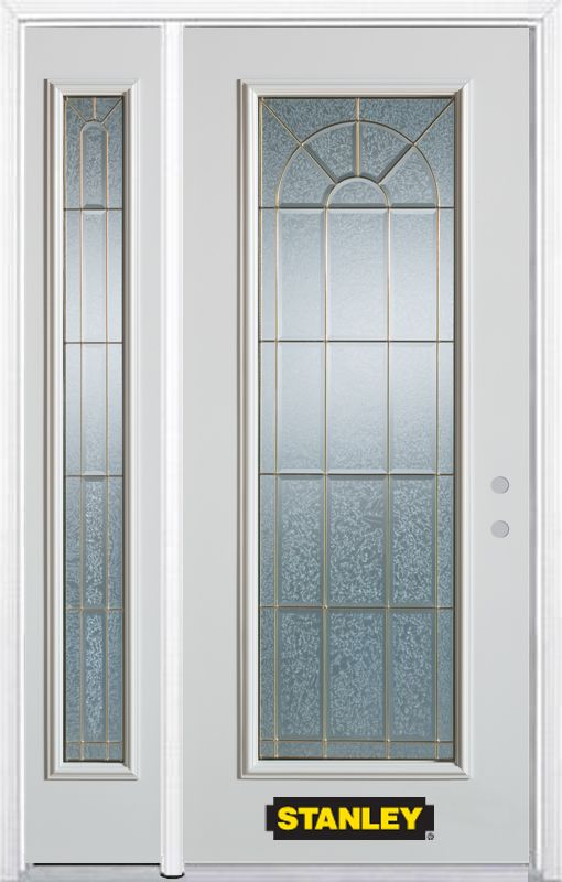 Stanley Doors 48.25 inch x 82.375 inch Elisabeth Brass Full Lite Prefinished White Left-Hand Inswing Steel Prehung Front Door with Sidelite and Brickmould