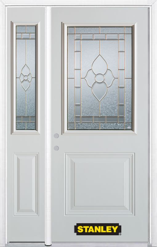 Stanley Doors 48.25 inch x 82.375 inch Marguerite Brass 1/2 Lite 1-Panel Prefinished White Right-Hand Inswing Steel Prehung Front Door with Sidelite and Brickmould - ENERGY STAR®