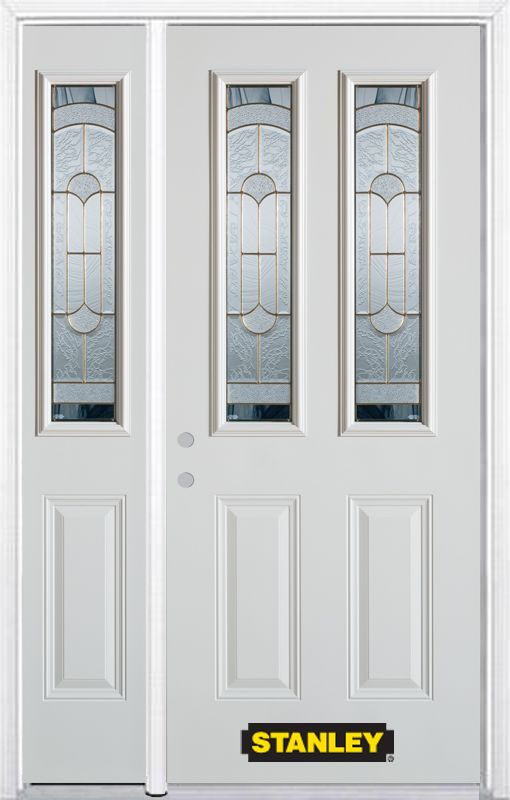 48-inch x 82-inch Radiance 2-Lite 2-Panel White Steel Entry Door with Sidelite and Brickmould