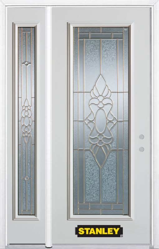 Porte dentrée en acier préfini en blanc, munie de quatre panneaux et dun verre en évantail, 53 po...