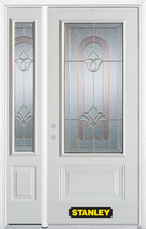 52-inch x 82-inch Marilyn 3/4-Lite 2-Panel White Steel Entry Door with Sidelite and Brickmould