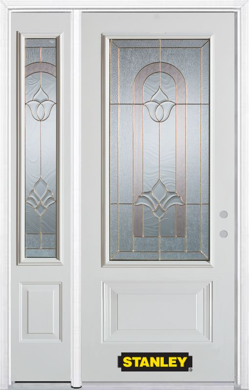 50-inch x 82-inch Marilyn 3/4-Lite 2-Panel White Steel Entry Door with Sidelite and Brickmould