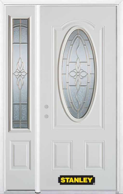 Stanley Doors 50.25 inch x 82.375 inch Trellis Brass 3/4 Oval Lite 2-Panel Prefinished White Right-Hand Inswing Steel Prehung Front Door with Sidelite and Brickmould