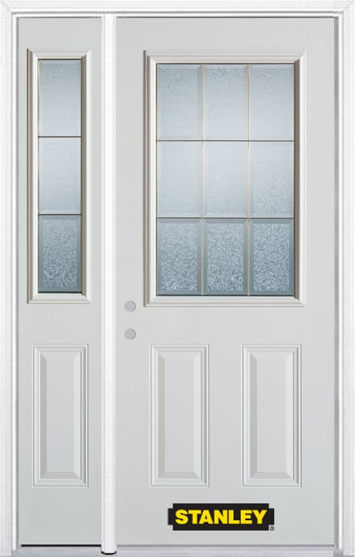 48-inch x 82-inch Diana 1/2-Lite 2-Panel White Steel Entry Door with Sidelite and Brickmould