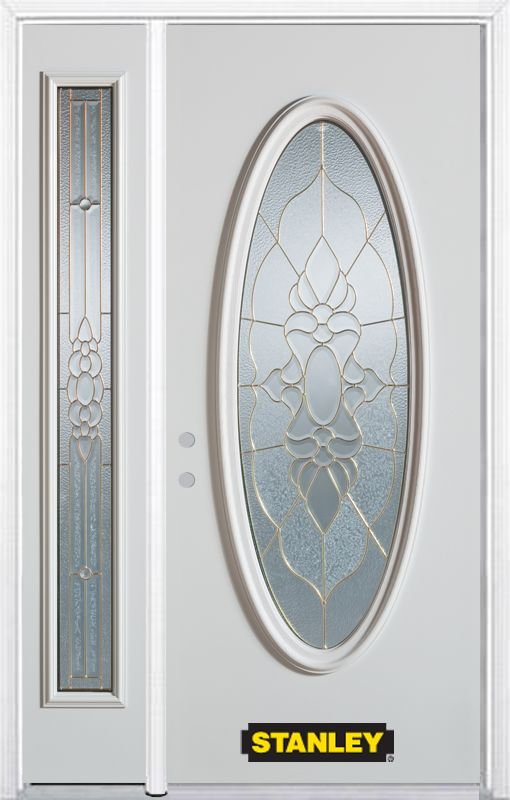 Stanley Doors 48.25 inch x 82.375 inch Victoria Brass Full Oval Lite Prefinished White Right-Hand Inswing Steel Prehung Front Door with Sidelite and Brickmould