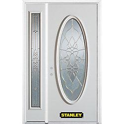 Stanley Doors Porte dentrée en acier préfini en blanc, munie dun verre ovale, 51 po x 82 po avec panneaux latéraux et moulure de brique - ENERGY STAR®