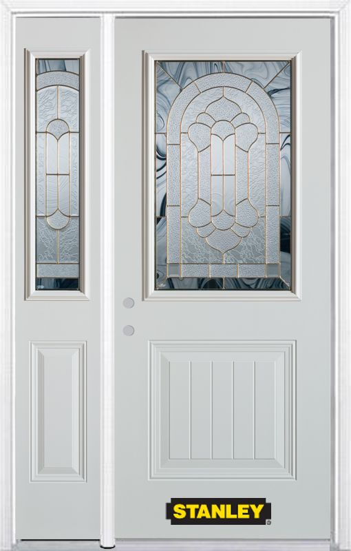 50-inch x 82-inch Radiance 1/2-Lite 1-Panel White Steel Entry Door with Sidelite and Brickmould