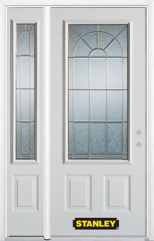 Stanley Doors 48.25 inch x 82.375 inch Elisabeth Brass 3/4 Lite 2-Panel Prefinished White Left-Hand Inswing Steel Prehung Front Door with Sidelite and Brickmould