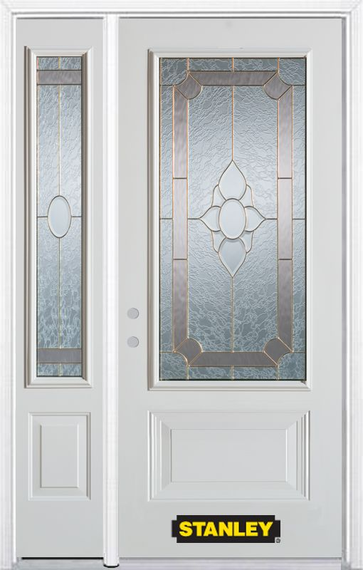50-inch x 82-inch Rochelle 3/4-Lite 2-Panel White Steel Entry Door with Sidelite and Brickmould