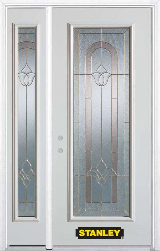 48-inch x 82-inch Marilyn Full Lite White Steel Entry Door with Sidelite and Brickmould