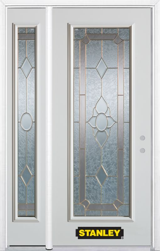 48-inch x 82-inch Rochelle Full Lite White Steel Entry Door with Sidelite and Brickmould