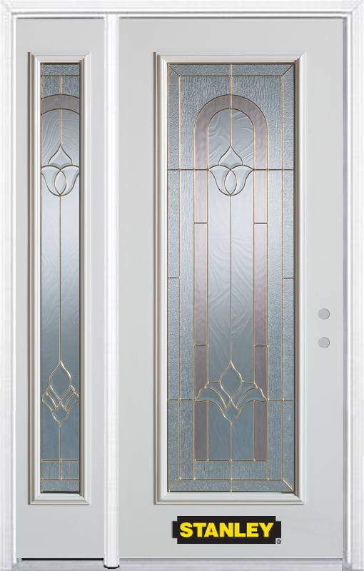 50-inch x 82-inch Marilyn Full Lite White Steel Entry Door with Sidelite and Brickmould