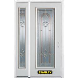 Stanley Doors Porte dentrée en acier préfini en blanc, munie d'un panneau de verre, 49 po x 82 po avec panneaux latéraux et moulure de brique - ENERGY STAR®