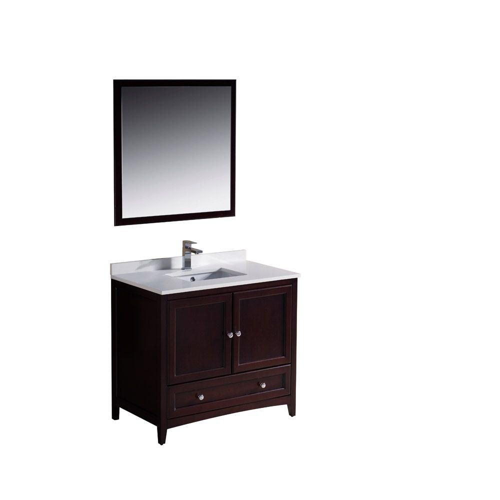 Oxford 36-inch W Vanity in Mahogany Finish