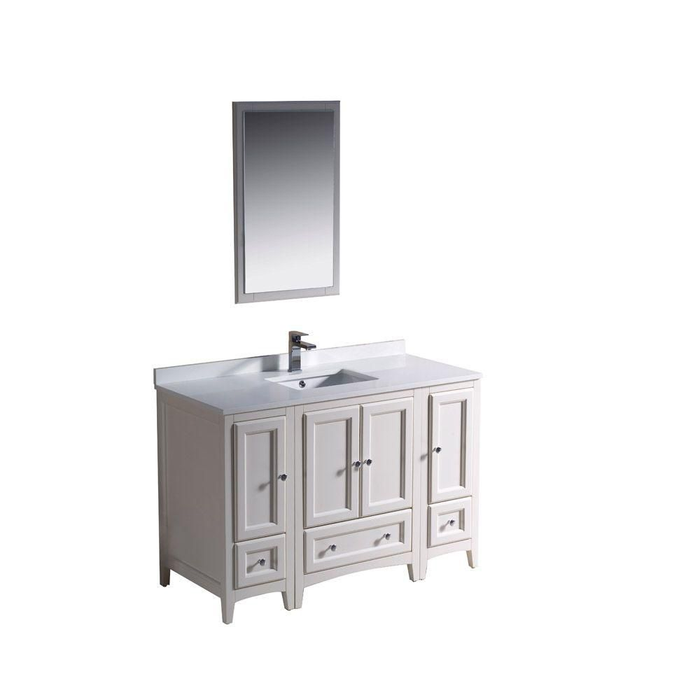 Oxford 48-inch W Vanity in Antique White Finish with Mirror