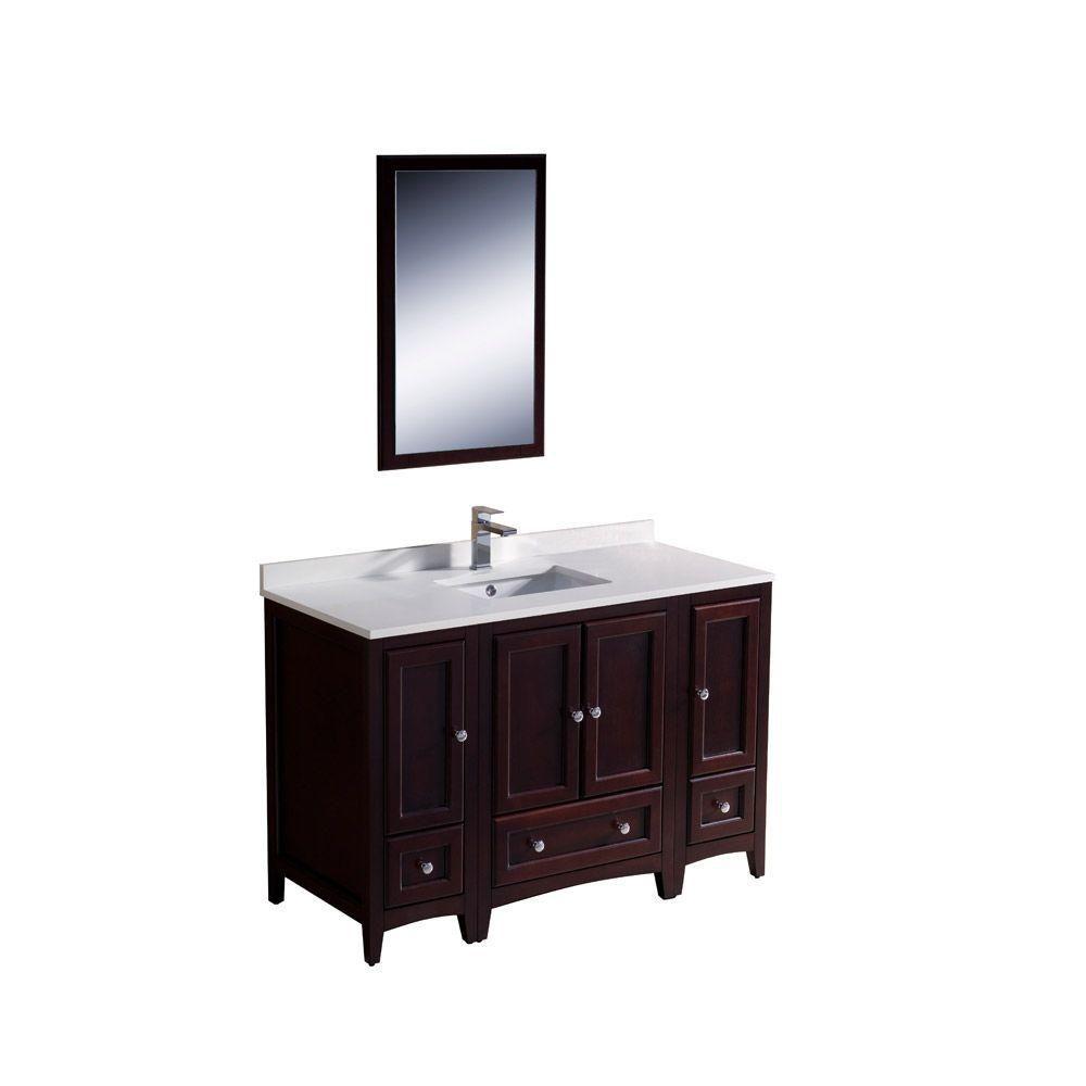 Meuble-lavabo traditionnel acajou 48po (121,9 cm) Oxford avec 2 armoires latérales