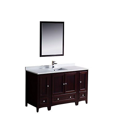 Fresca Oxford 54-inch W 3-Drawer 4-Door Vanity in Red With Quartz Top in White With Faucet And Mirror | The Home Depot Canada