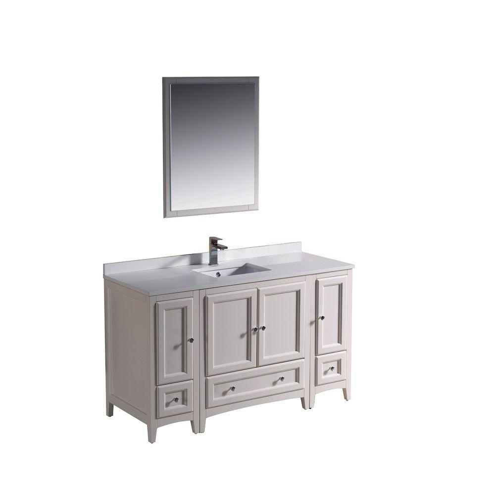 Meuble-lavabo traditionnel blanc antique 54po (137,2 cm) Oxford avec 2 armoires latérales
